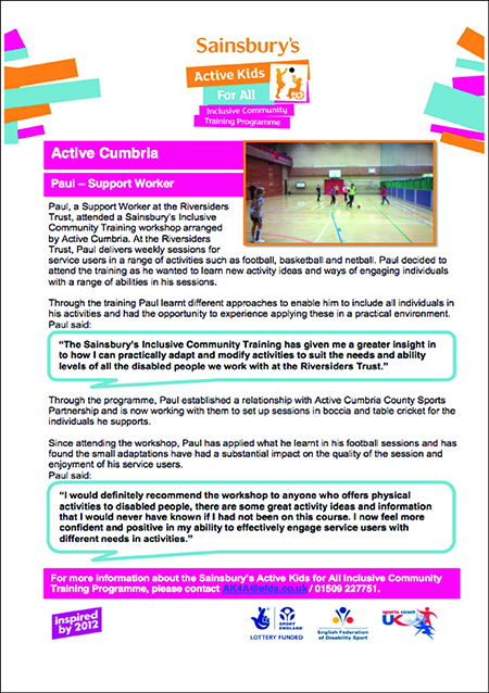Active Kids For All Inclusive Communities Case Studies Active Cumbria